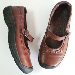 Keen chestnut leather mary jane loafers